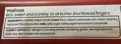Waitrose shortbread fingers - Ingredienti - en