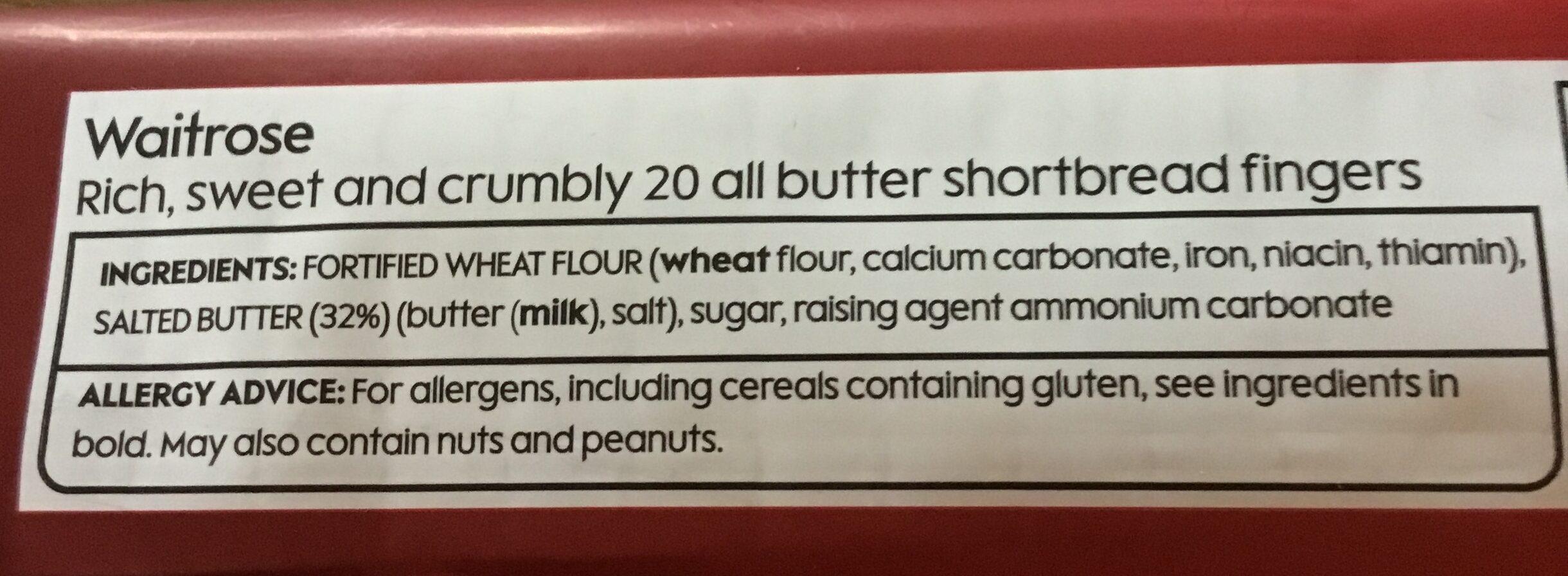Waitrose shortbread fingers - Ingredients - en