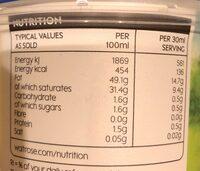 Duchy Organic Double Cream - Nutrition facts - en