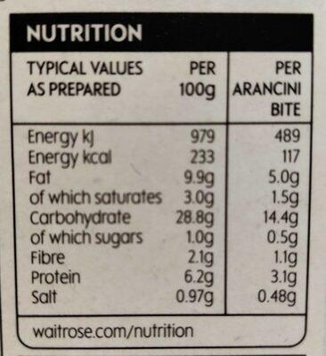 Mushroom Arancini - Informations nutritionnelles - en