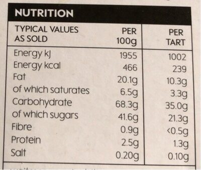 Freefrom cherry bakewells - Nutrition facts - en
