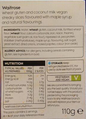Vegan Smoky streaky slices - Voedingswaarden