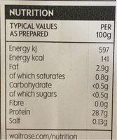 British chicken skinless breast fillets - Nutrition facts - en