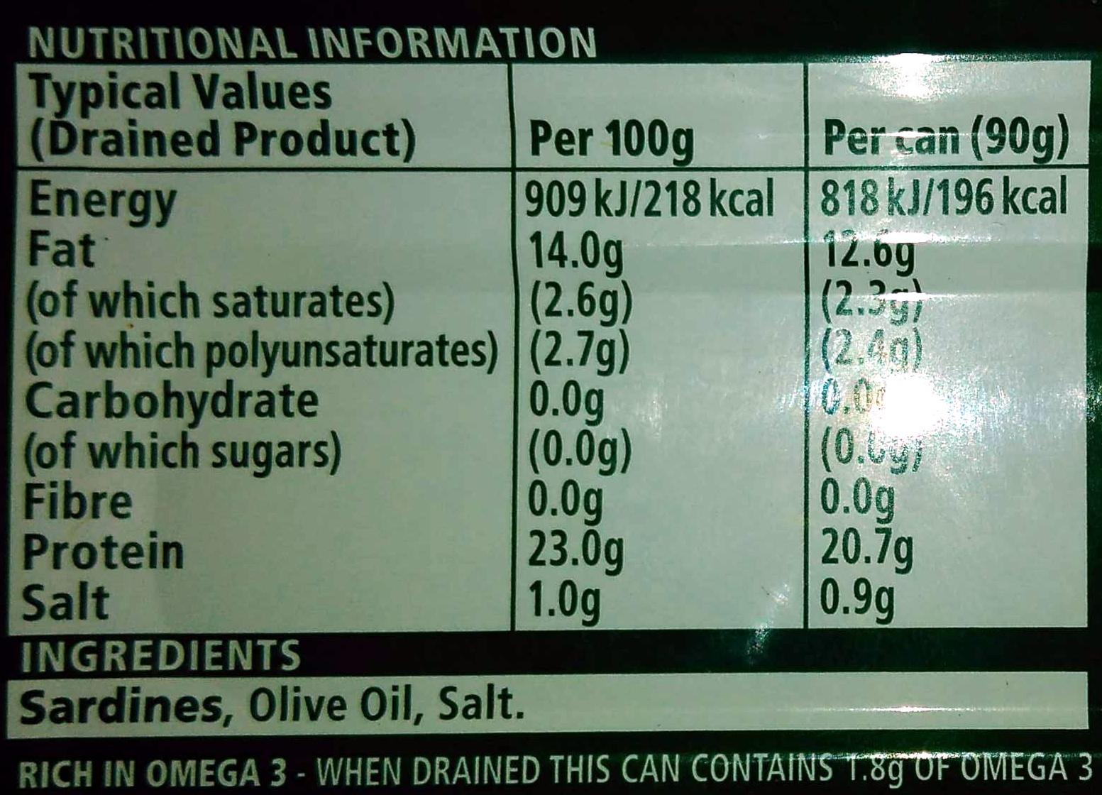 Sardine in olive oil - Voedigswaarden