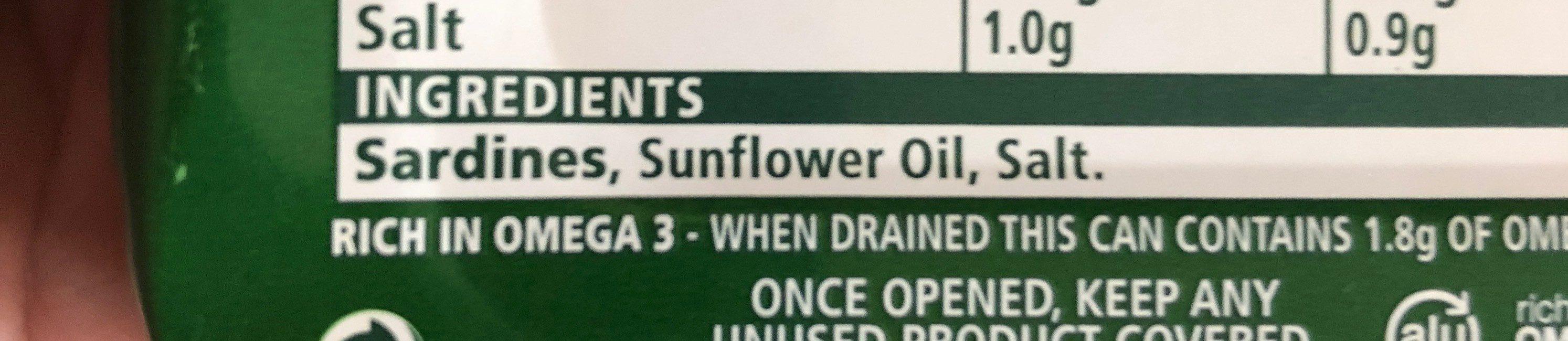 John West Sardines Sunflower Oil - Ingredients