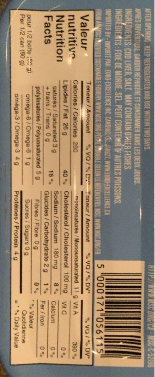 Foie de morue nature - Informations nutritionnelles - fr