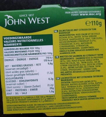 Émietté saumon - Voedingswaarden
