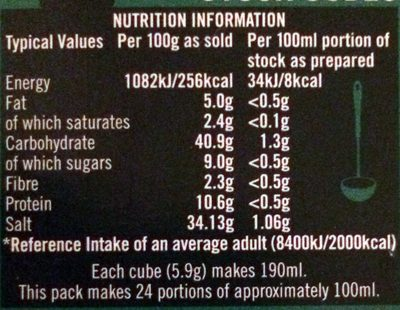 12 vegetable stock cubes - Nutrition facts