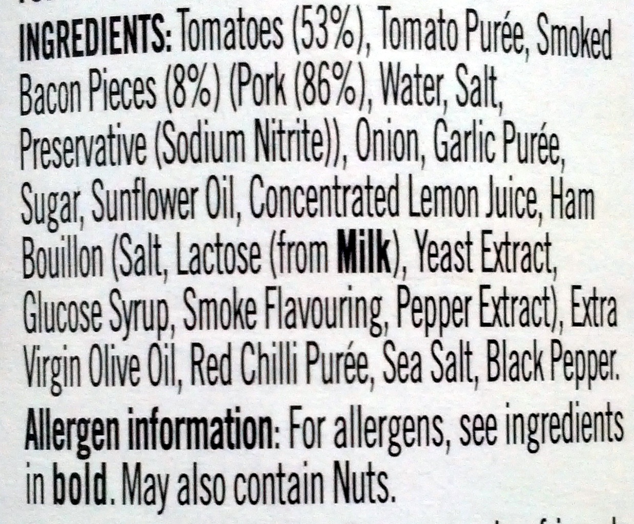Tomato & Smoked Bacon Sauce - Ingredients
