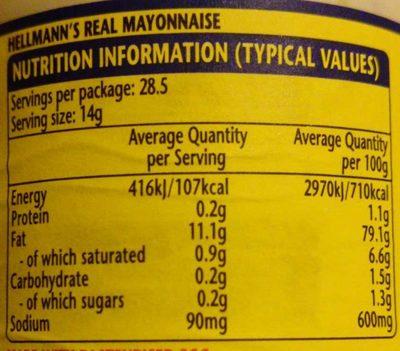 Real Mayonnaise - Ravintosisältö - en