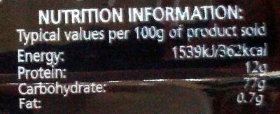 Spaghetti - Nutrition facts