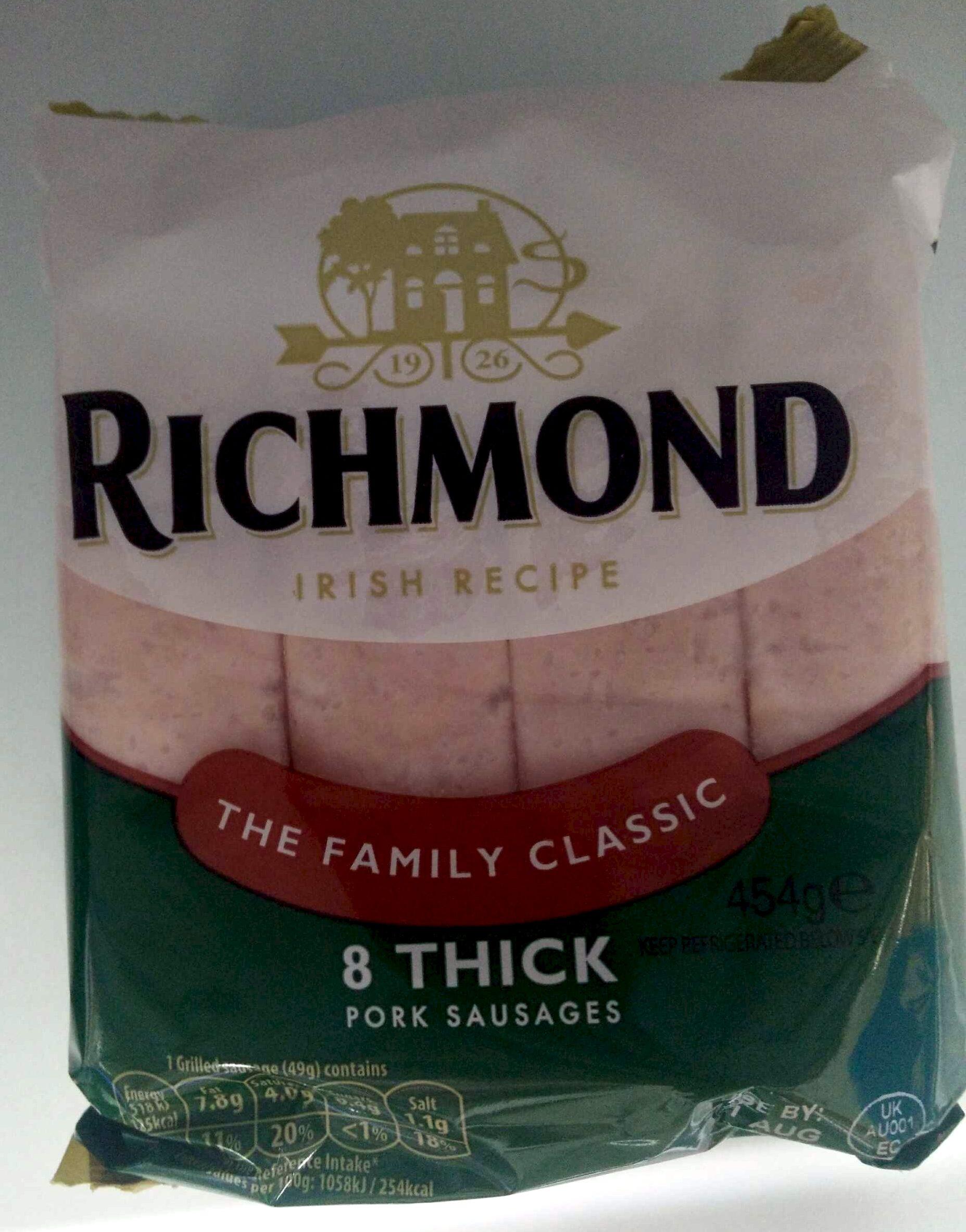 8 thick Pork Sausages - Product - en