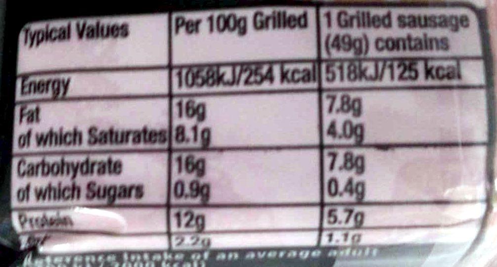 8 thick Pork Sausages - Nutrition facts - en