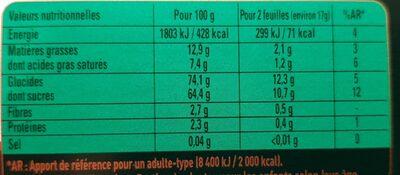AFTER EIGHT Nuit de Londres - Nutrition facts - fr