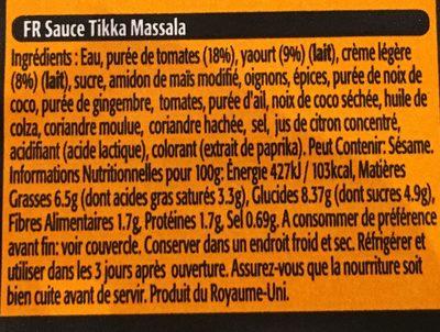Tikka Masala - Ingrédients - fr