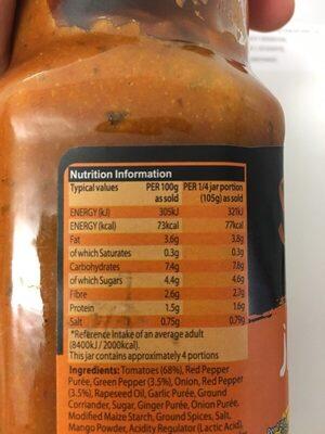 Jalfrezi - Informations nutritionnelles - fr