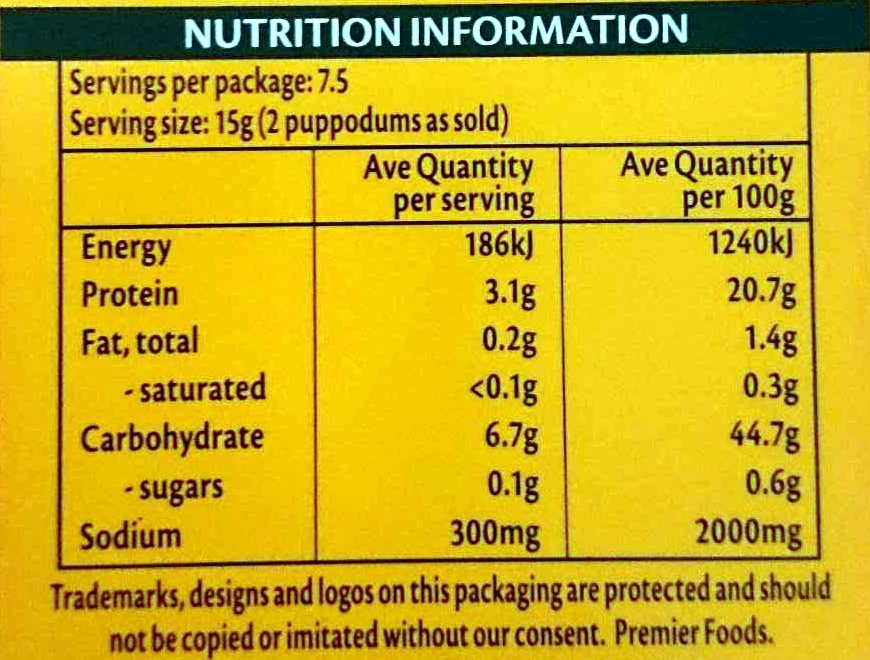 Puppodums Plain - Nutrition facts - en
