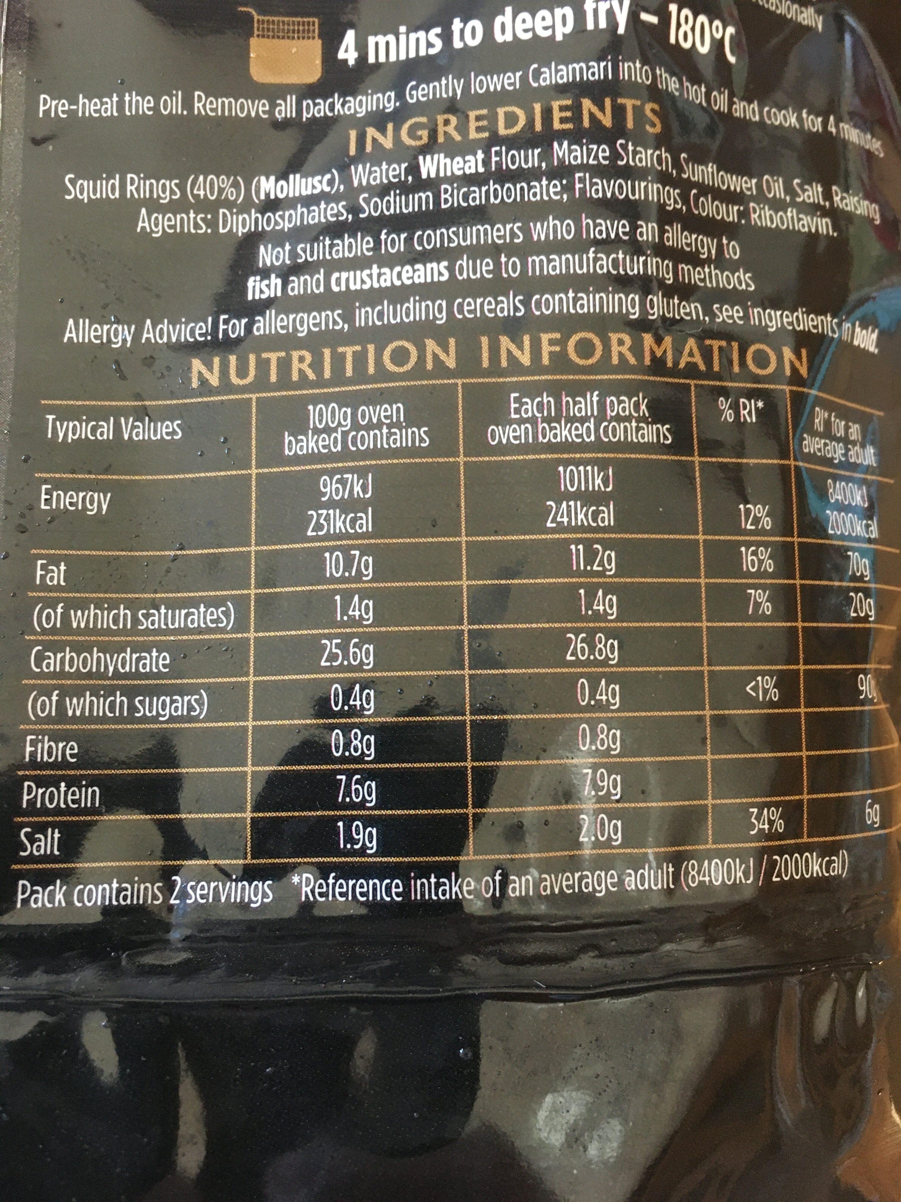 Calamari - golden battered - Informations nutritionnelles - en