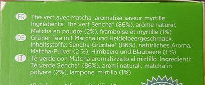 Thé Vert Matcha Myrtille - Ingredients