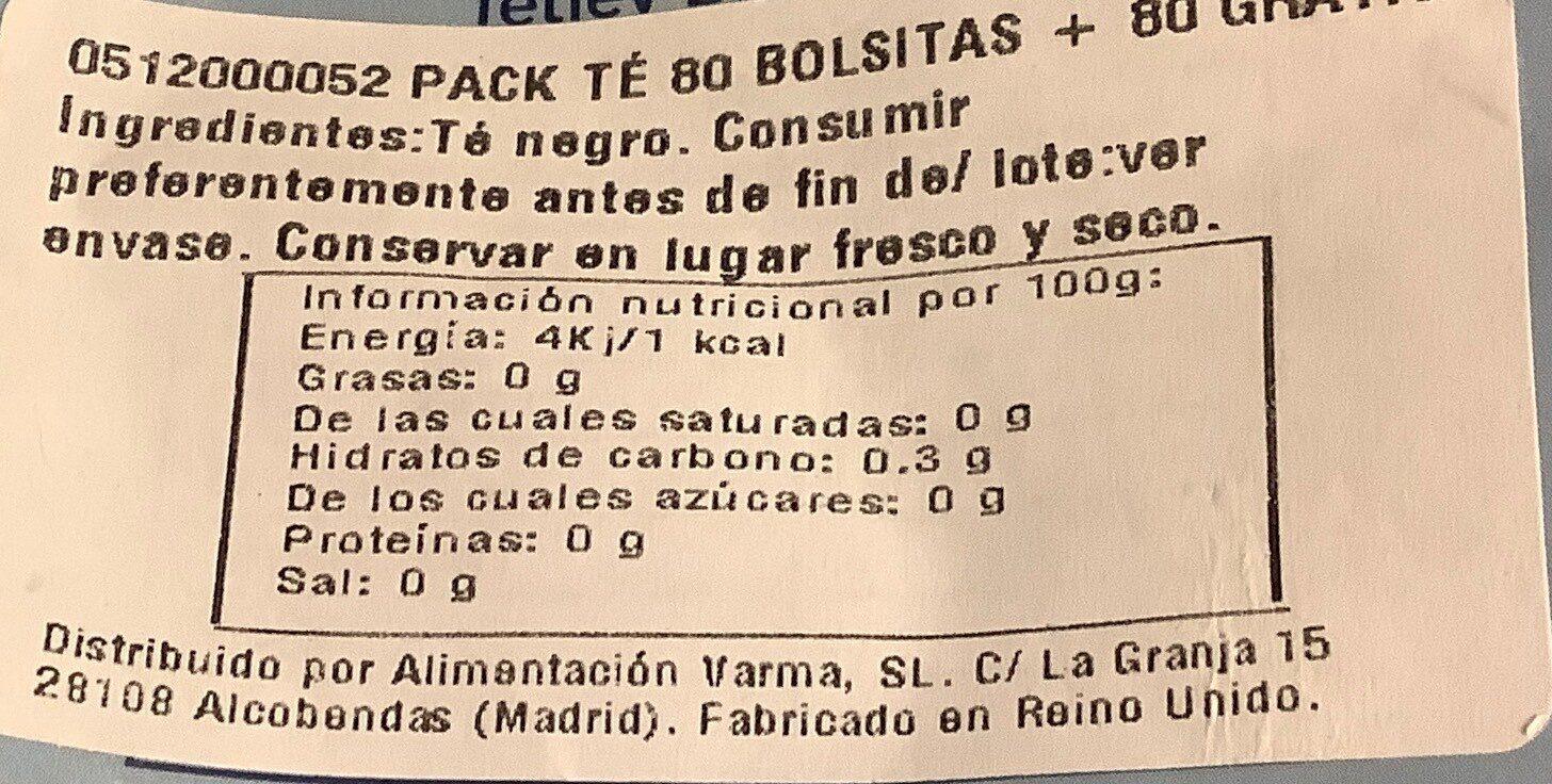 160 tea bags - Voedingswaarden