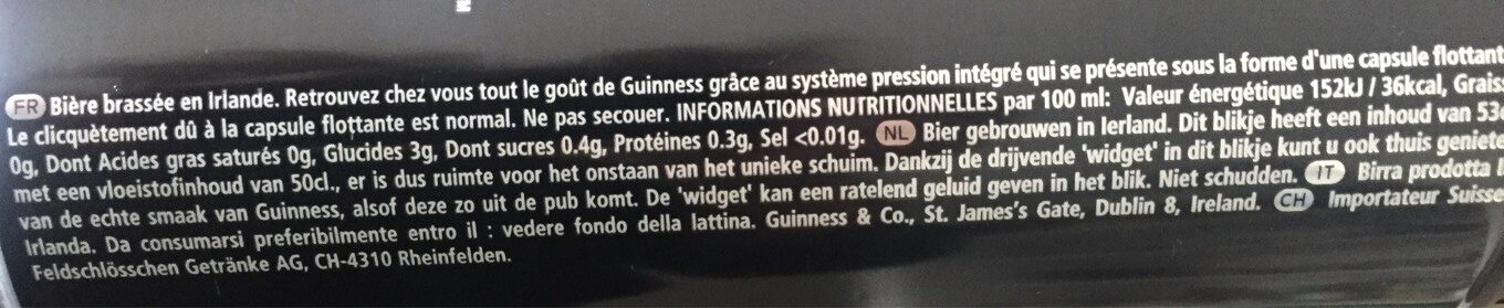 Guinness Draught - Nutrition facts - fr