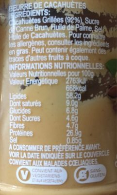 Peanut Butter Smooth - Informations nutritionnelles