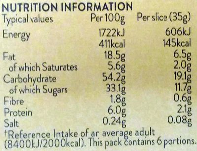 6 Almond Slices - Nutrition facts - en