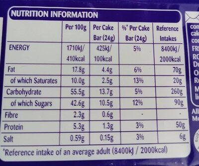 Cake bars caramel - Nutrition facts - en