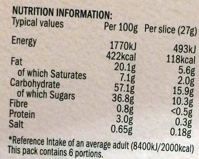 6 chocolate & slime slices - Nutrition facts