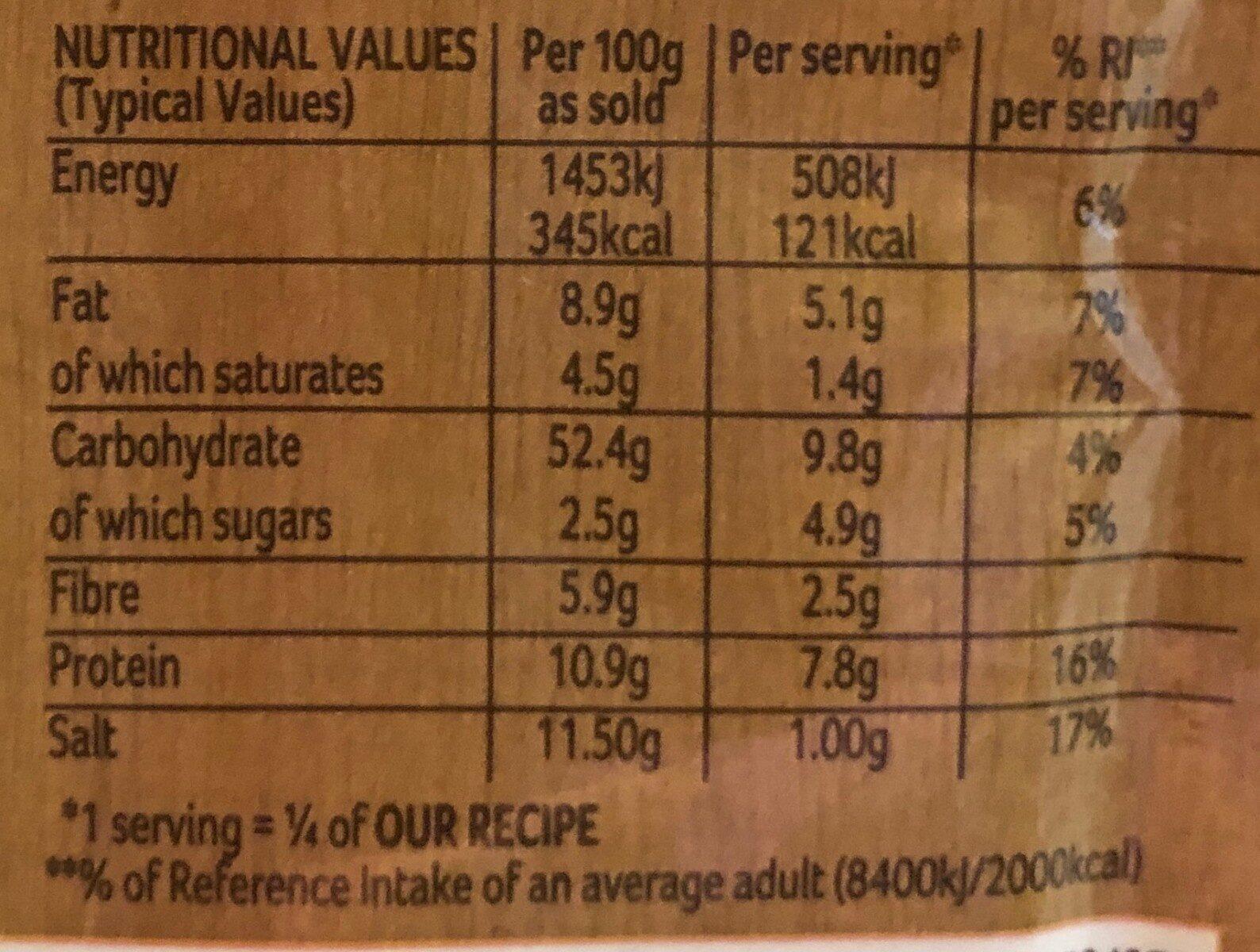 Schwartz Mushroom Stroganoff 35g - Valori nutrizionali - fr