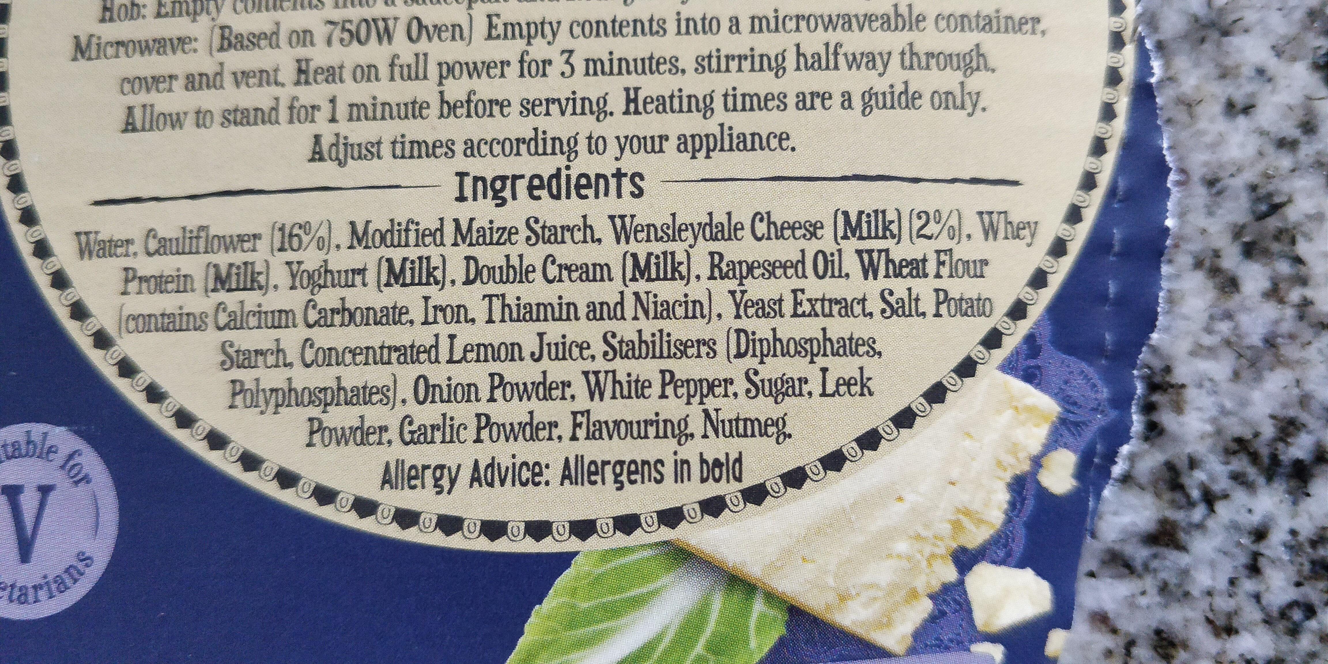 Cauliflower & Wenseydale - Ingredientes - en