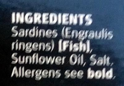 Sardines in sunflower oil - Ingredients