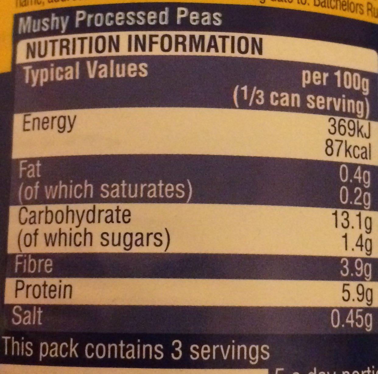 Mushy Peas Original - Nutrition facts