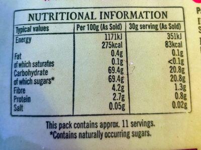 Sunshine Sultanas - Informations nutritionnelles - en