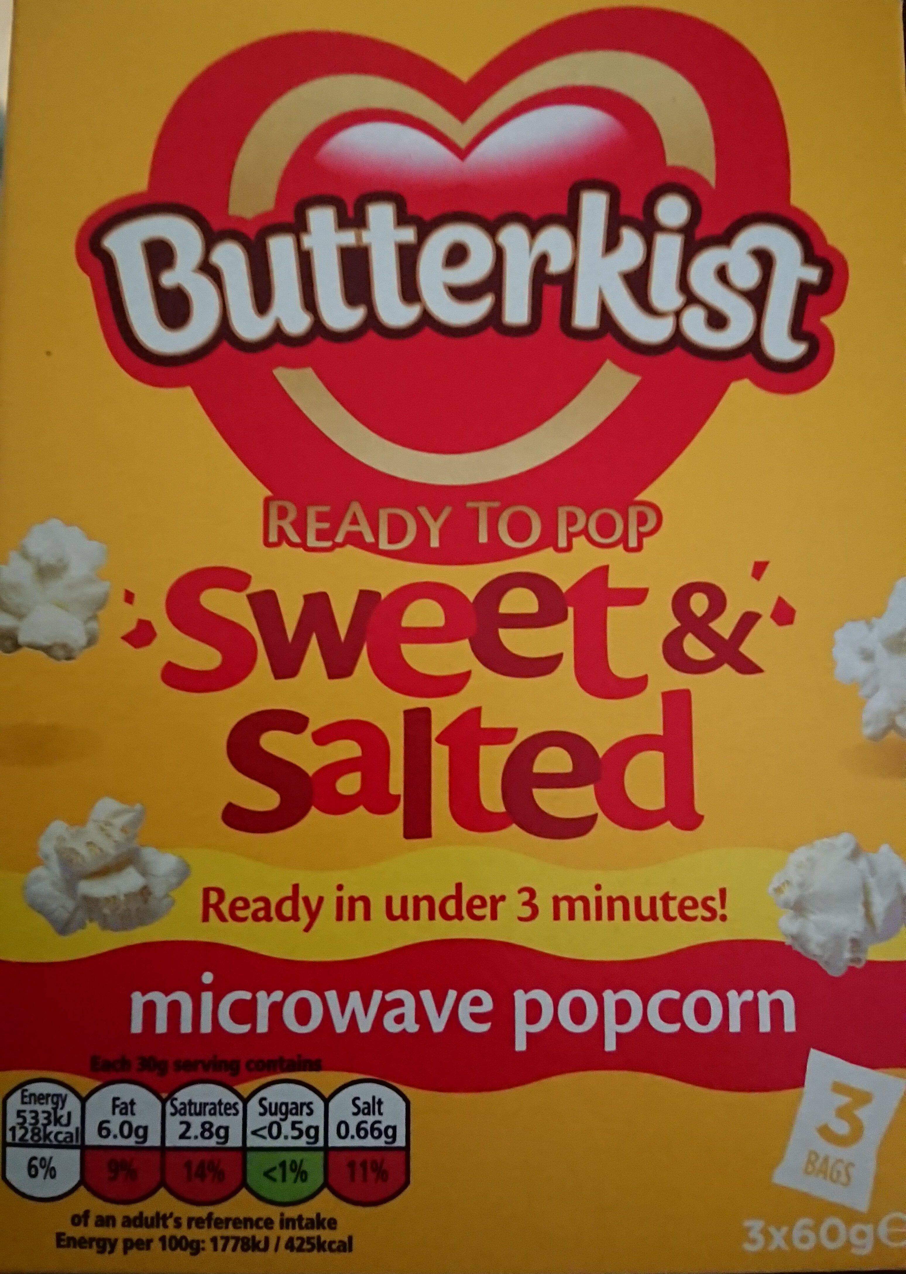 Butterkist ready to pop sweet & Salted microwave popcorn - Produit - en