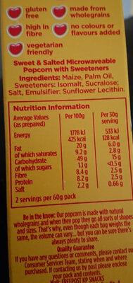 Butterkist ready to pop sweet & Salted microwave popcorn - Informations nutritionnelles - en