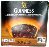 Slow cooked tender prime steak in a rich gravy infused with Guiness beer, baked in a unique Holland's golden shortcrust pie - Produit