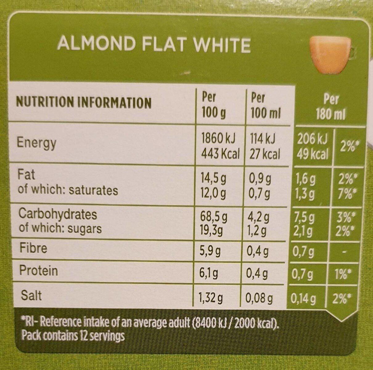 Almond Flat White - Valori nutrizionali - en
