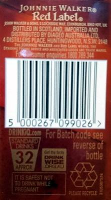 Johnnie Walker Red Label Blended Scotch Whiskey - Ingredients