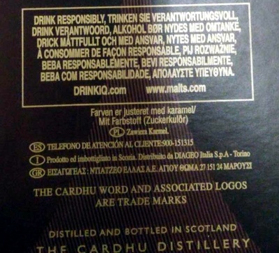 12 year old single malt scoth whisky - Ingredients