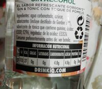 Gordon's sin alcohol - Informació nutricional - es