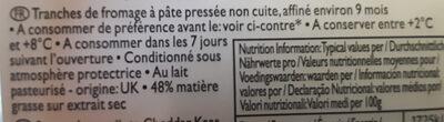 Sliced mature cheddar - Ingrediënten - fr