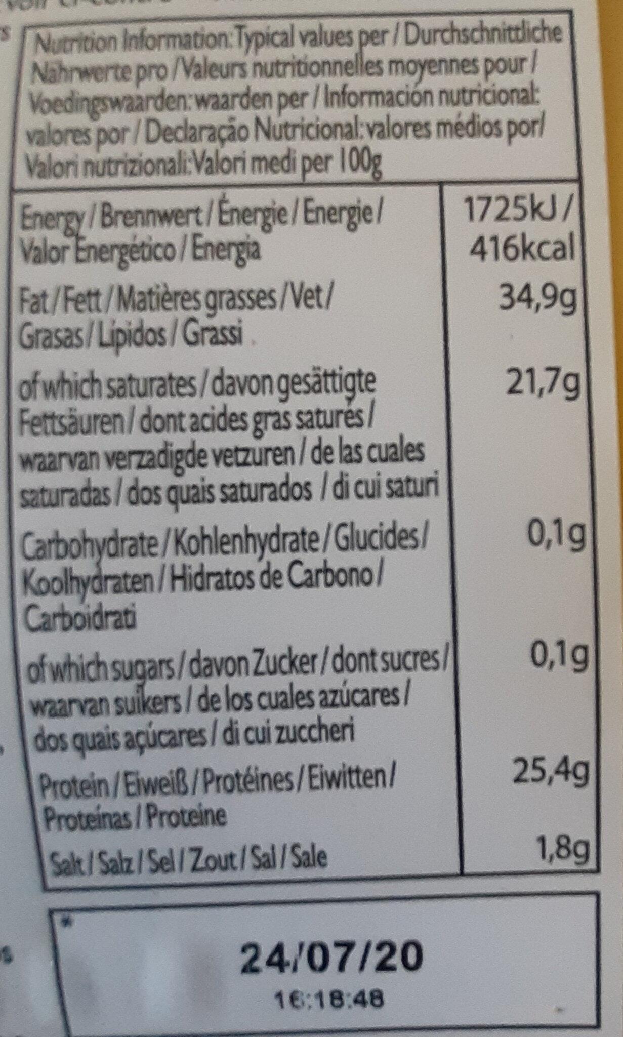 Sliced mature cheddar - Voedingswaarden - fr