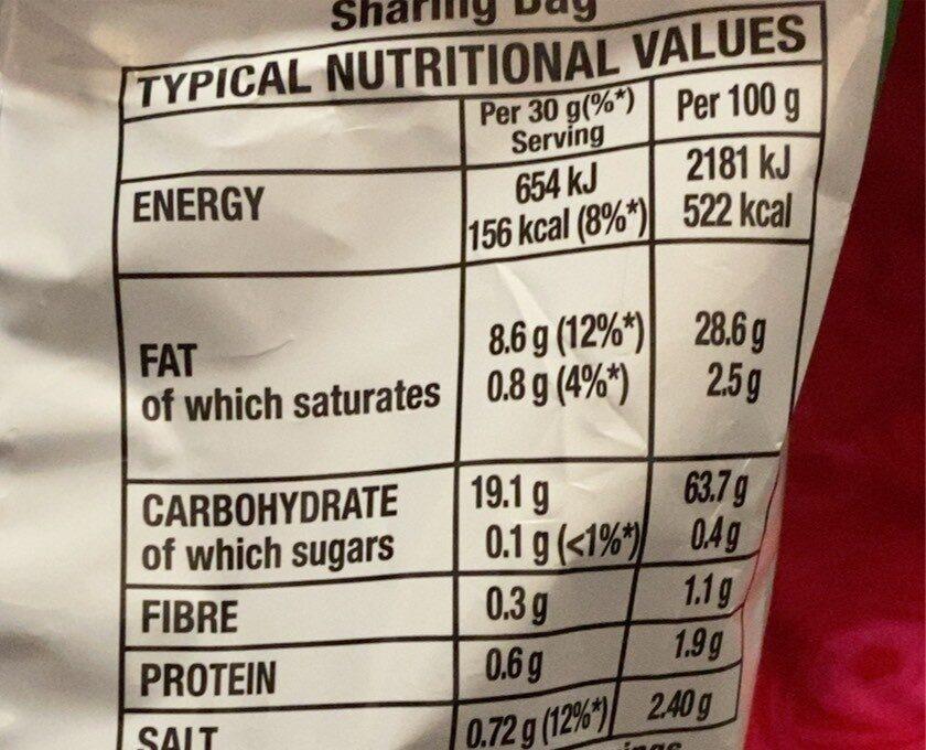 Quavers salt & vinegar - Nutrition facts - en