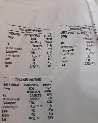 Walkers Variety Crisps 6 X 25 G - Voedingswaarden - en