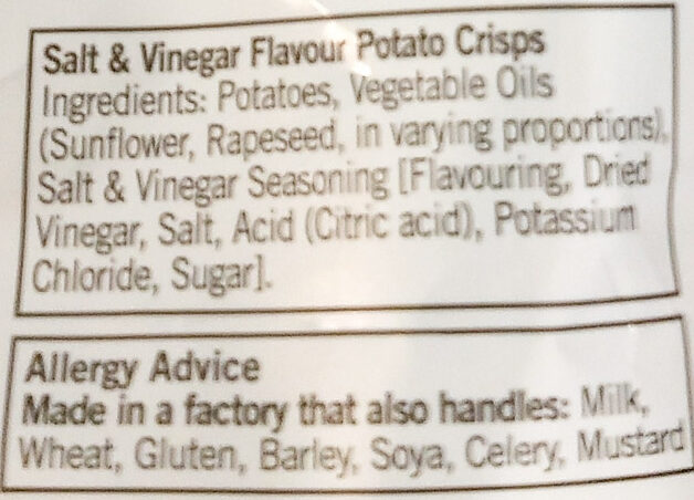Salt & Vinegar - Ingredients - en
