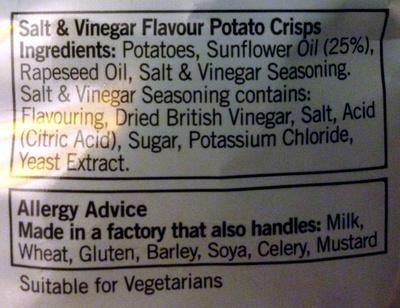 Salt & Vinegar - Ingrediënten
