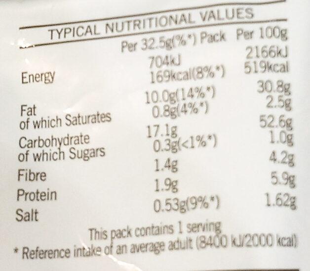Salt & Vinegar Crisps - Informations nutritionnelles - en
