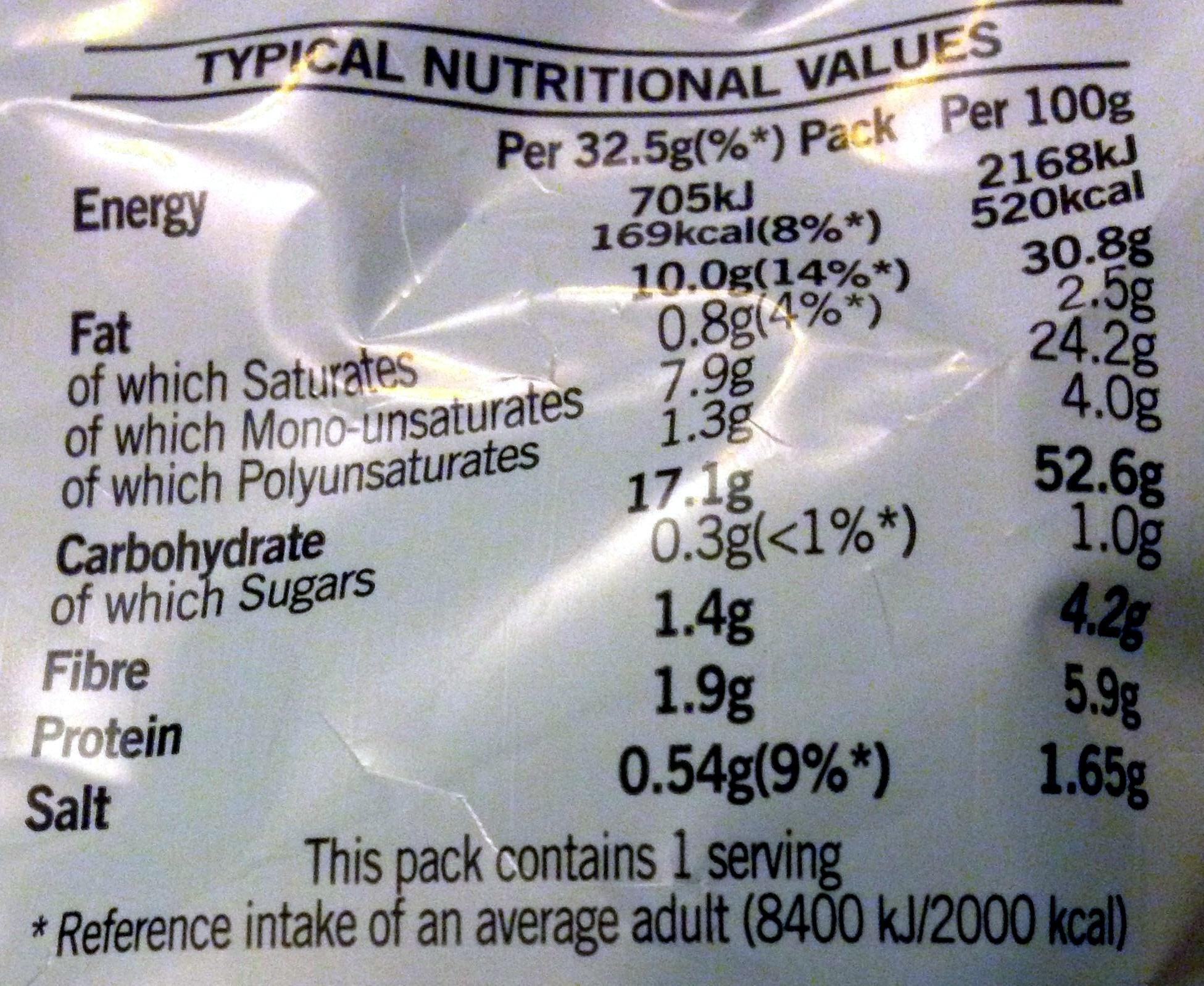 Salt & Vinegar - Voedigswaarden
