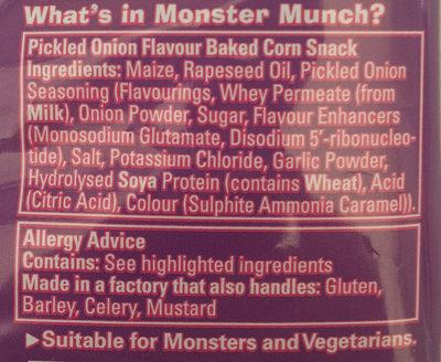 Monster Munch - Pickled Onion - Ingrediënten - en